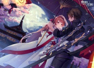 Rating: Safe Score: 34 Tags: blush brown_hair building chariot.f clouds japanese_clothes long_hair male moon short_hair sky sword tree umbrella weapon User: BattlequeenYume