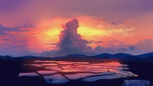 Rating: Safe Score: 49 Tags: animal bird clouds landscape natsut original scenic sky sunset water User: FormX