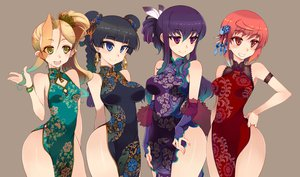Rating: Safe Score: 124 Tags: black_hair blonde_hair chinese_dress kusanagi_tonbo purple_hair red_hair tagme User: opai