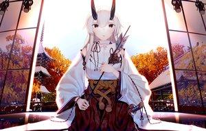 Rating: Safe Score: 28 Tags: atha fate/grand_order fate_(series) horns japanese_clothes katana long_hair miko red_eyes sword tomoe_gozen weapon white_hair User: RyuZU