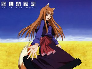 Rating: Safe Score: 35 Tags: animal_ears clouds dress horo long_hair orange_hair red_eyes sky spice_and_wolf tail wolfgirl User: Pilop