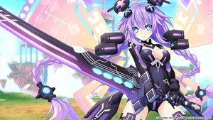 Rating: Safe Score: 43 Tags: aqua_eyes bodysuit breasts gloves hyperdimension_neptunia long_hair purple_hair purple_heart sword tagme_(artist) weapon wings User: Nepcoheart
