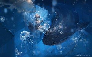 Rating: Safe Score: 49 Tags: animal brown_hair bubbles long_hair original qqwew00123 seifuku skirt underwater water watermark User: BattlequeenYume