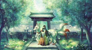 Rating: Safe Score: 37 Tags: animal bell black_hair flowers forest fox green green_eyes japanese_clothes long_hair miko multiple_tails original shrine stairs tail torii translation_request tree yingsu_jiang User: RyuZU