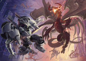 Rating: Safe Score: 85 Tags: building dragon fire horns mecha omaru original tail wings User: FormX