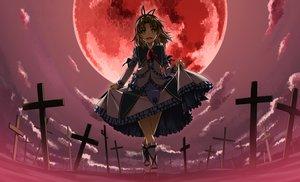 Rating: Safe Score: 141 Tags: clouds cross dress headband kneehighs moon red renne shikei sora_no_kiseki User: RyuZU
