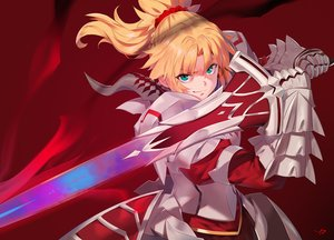 Rating: Safe Score: 59 Tags: armor blonde_hair dress fate/apocrypha fate/grand_order fate_(series) gloves green_eyes long_hair mordred ponytail red signed sword weapon yang-do User: RyuZU