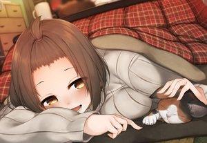 Rating: Safe Score: 56 Tags: animal blush brown_eyes brown_hair cat kotatsu original rerrere short_hair User: RyuZU