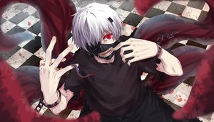 Rating: Safe Score: 72 Tags: all_male byakuya_reki kaneki_ken male mask red_eyes shackles short_hair tokyo_ghoul white_hair wristwear User: Flandre93
