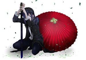 Rating: Safe Score: 125 Tags: all_male blue_eyes blue_hair k_(anime) katana leaves long_hair male mariwai_(marireroy) sword tie umbrella weapon white yatogami_kurou User: opai
