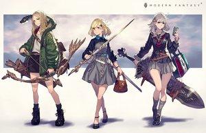 Rating: Safe Score: 55 Tags: animal bow_(weapon) garter kusano_shinta original skirt sword uniform weapon User: BattlequeenYume