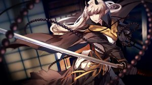 Rating: Safe Score: 109 Tags: cape chain gray_hair green_eyes horns katana long_hair original pixiv_fantasia pointed_ears skade sword weapon User: luckyluna