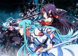 Rating: Safe Score: 103 Tags: 2girls armor black_hair blue_eyes blue_hair headband konno_yuuki long_hair nyoronyoro pointed_ears sword sword_art_online weapon yuuki_asuna User: Flandre93