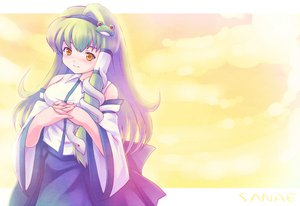 Rating: Safe Score: 4 Tags: dress green_hair japanese_clothes kochiya_sanae long_hair miko tdk touhou yellow_eyes User: 秀悟
