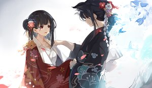 Rating: Safe Score: 80 Tags: 2girls animal animal_ears black_hair breasts butterfly cleavage crying doggirl dressing flowers japanese_clothes kimono mitu_yang original red_eyes short_hair tail tears User: sadodere-chan