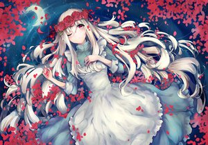Rating: Safe Score: 105 Tags: dress flowers kagerou_project kozakura_mary long_hair moon petals red_eyes rose tears teka water white_hair User: FormX