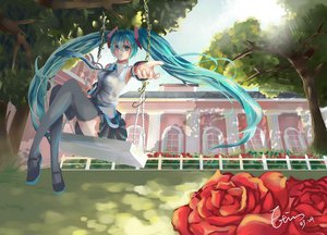 Rating: Safe Score: 47 Tags: etin flowers hatsune_miku rose thighhighs tie tree twintails vocaloid User: FormX