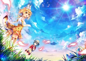 Rating: Safe Score: 44 Tags: 2girls animal_ears anthropomorphism aqua_eyes blonde_hair bow catgirl clouds dress elbow_gloves gloves green_hair kaban kemono_friends lucky_beast_(kemono_friends) panties serval short_hair shorts sky summer_dress tagme_(artist) tail thighhighs underwear upskirt yellow_eyes User: BattlequeenYume