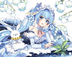 Rating: Safe Score: 63 Tags: animal aqua_eyes aqua_hair breasts cleavage dress flowers hatsune_miku long_hair nardack rabbit snow tiara twintails vocaloid yuki_miku yukine_(vocaloid) User: RyuZU