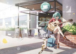 Rating: Safe Score: 67 Tags: animal aqua_eyes aqua_hair cat guitar hatsune_miku instrument long_hair music paper twintails vocaloid zhenyuann User: FormX