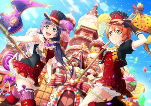 Rating: Safe Score: 32 Tags: 2girls aqua_eyes blue_hair boots bow candy cape clouds garter gloves hat hoshizora_rin long_hair love_live!_school_idol_project orange_hair short_hair shorts skirt sky tagme_(artist) thighhighs toujou_nozomi yellow_eyes User: RyuZU