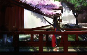 Rating: Safe Score: 198 Tags: black_hair cherry_blossoms flowers katana kikivi long_hair original sword thighhighs weapon User: FormX