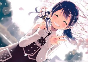 Rating: Safe Score: 72 Tags: black_hair cherry_blossoms dress eretto flowers long_hair scan tree twintails User: luckyluna