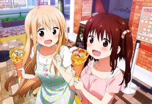 Rating: Safe Score: 58 Tags: 2girls blonde_hair brown_eyes doma_umaru ebina_nana food himouto!_umaru-chan long_hair megami red_eyes red_hair scan yoshida_kanako User: mattiasc02