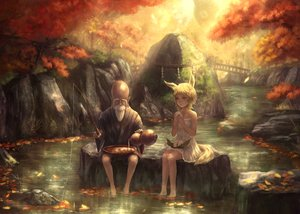 Rating: Safe Score: 173 Tags: animal_ears autumn barefoot blonde_hair dress food forest foxgirl grass leaves male original rope tail torii tree water yazuwo User: Flandre93