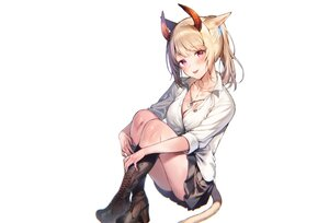 Rating: Safe Score: 52 Tags: animal_ears bicolored_eyes blonde_hair blush boots breasts catgirl cleavage final_fantasy final_fantasy_xiv horns midorikawa_you miqo'te necklace ponytail school_uniform shirt skirt tail white User: otaku_emmy