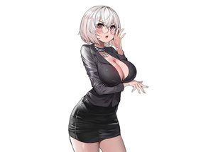 Rating: Safe Score: 80 Tags: anthropomorphism azur_lane blush breast_hold breasts choker cleavage glasses gray_hair open_shirt red_eyes shirt short_hair sirius_(azur_lane) skirt suit suou-sensei white User: otaku_emmy