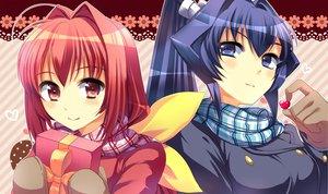 Rating: Safe Score: 54 Tags: 2girls blue_hair gloves kagami_sumika mitsurugi_meiya mochiko_(mochiko3121) muv-luv red_hair scarf tagme User: opai