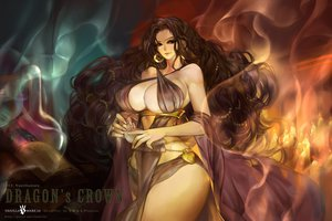 Rating: Safe Score: 95 Tags: book breasts brown_eyes brown_hair cleavage dragon's_crown dress fantchi long_hair morgan_rizilia watermark User: FormX