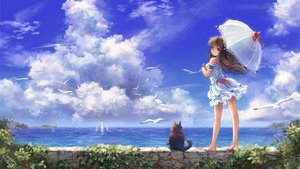 Rating: Safe Score: 182 Tags: animal barefoot bird boat brown_eyes brown_hair cat clouds dress long_hair miyai_haruki original ribbons signed sky umbrella water User: STORM