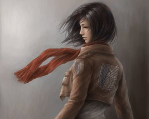 Rating: Safe Score: 86 Tags: brown_hair cropped gradient gray jason_peng mikasa_ackerman realistic scarf shingeki_no_kyojin User: mattiasc02