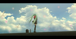 Rating: Safe Score: 73 Tags: animal bird clouds hatsune_miku hazfirst long_hair petals scarf sky thighhighs twintails vocaloid User: opai
