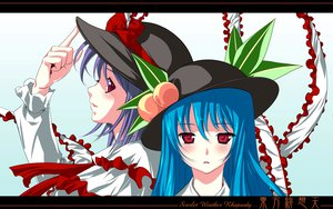 Rating: Safe Score: 6 Tags: blue_hair blush hat hinanawi_tenshi long_hair nagae_iku purple_hair red_eyes ribbons short_hair touhou User: 秀悟