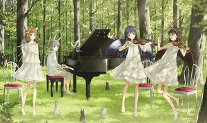Rating: Safe Score: 87 Tags: animal animal_ears bird black_eyes black_hair brown_eyes brown_hair bunny_ears flute forest grass gray_hair group headband ink_(y3297528xx) instrument male original piano rabbit tree violin wings User: FormX
