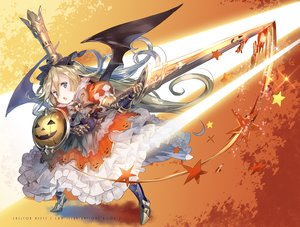 Rating: Safe Score: 82 Tags: armor blonde_hair blue_eyes charlotta_(granblue_fantasy) crown dress granblue_fantasy halloween loli pointed_ears sword weapon wings yuugen User: Flandre93