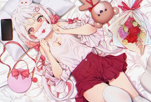 Rating: Safe Score: 55 Tags: agnamore bed blush bow breasts cleavage flowers gray_hair long_hair original paper phone red_eyes skirt teddy_bear thighhighs User: BattlequeenYume