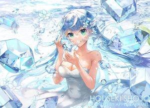 Rating: Safe Score: 34 Tags: applecaramel_(acaramel) blue_hair breasts bubbles cleavage dress flowers green_eyes long_hair original twintails underwater water watermark User: BattlequeenYume