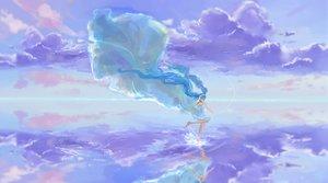 Rating: Safe Score: 4 Tags: aqua_hair barefoot clouds dress hatsune_miku long_hair mikan_121 twintails vocaloid water User: Flandre93