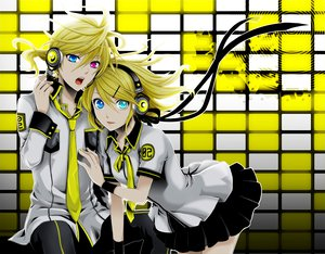 Rating: Safe Score: 80 Tags: bicolored_eyes headphones kagamine_len kagamine_rin vocaloid wool User: HawthorneKitty
