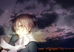 Rating: Safe Score: 90 Tags: brown_hair building city clouds nilitsu original scarf short_hair sky sunset yellow_eyes User: Flandre93