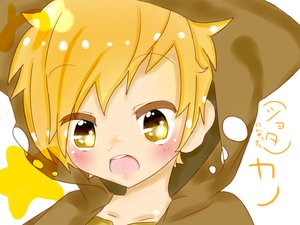 Rating: Safe Score: 11 Tags: all_male blonde_hair blush chibi close hoodie kagerou_project kano_shuuya male ushi_neko yellow_eyes User: mattiasc02