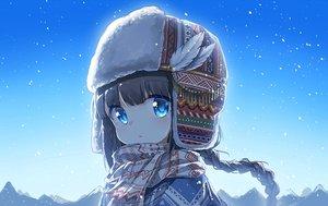 Rating: Safe Score: 64 Tags: aqua_eyes black_hair braids darnell gradient hat long_hair original ponytail scarf sky snow User: あかり