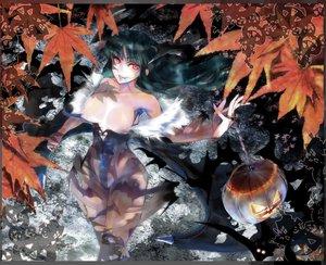 Rating: Questionable Score: 85 Tags: autumn breasts capcom darkstalkers halloween houen leaves morrigan_aensland nipples pumpkin wings User: Kunimura