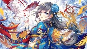 Rating: Safe Score: 96 Tags: animal bird black_hair blue_eyes feathers flowers fu_hua glasses honkai_impact japanese_clothes kimono long_hair petals ponytail tagme_(artist) wristwear User: BattlequeenYume