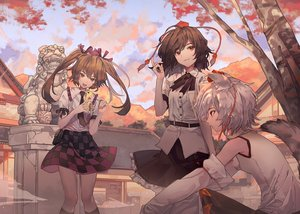 Rating: Safe Score: 28 Tags: animal_ears brown_eyes brown_hair clouds gray_hair himekaidou_hatate inubashiri_momiji long_hair maachi_(fsam4547) phone red_eyes ribbons shameimaru_aya short_hair skirt sky tail tie touhou tree twintails waifu2x wolfgirl User: RyuZU