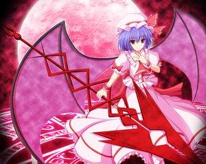 Rating: Safe Score: 43 Tags: blue_hair dress hat moon red_eyes remilia_scarlet short_hair staff touhou vampire weapon wings User: HawthorneKitty